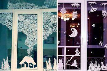15+ идей, как красиво украсить окна к Новому году