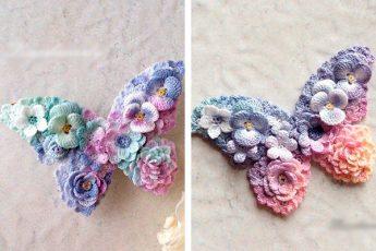 Бабочки из цветочков вязаных крючком