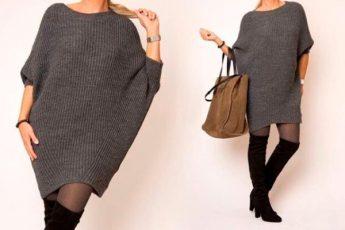 Вязаное платье оверсайз с рукавами летучая мышь спицами: стильно и просто!