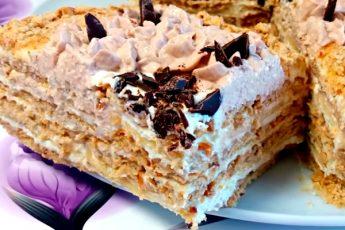 Ореховый торт без выпечки за 15 минут с творожным кремом и бананом!