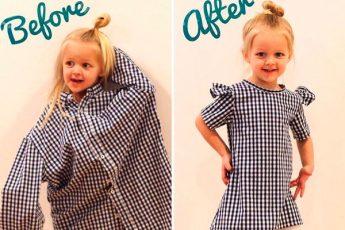 Креативная мама делает крутую одежду для своей дочки из старых папиных рубашек