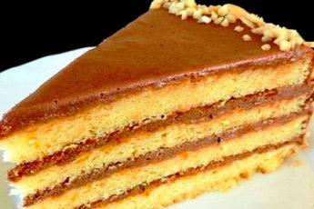 Бисквитный торт со сгущёнкой из простых продуктов
