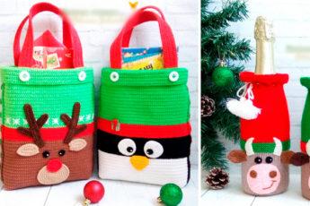 Идеи вязаных новогодних сумок
