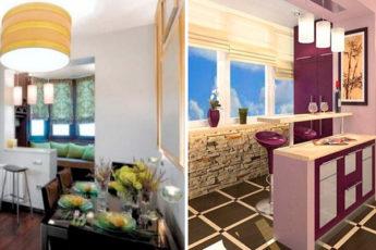 Кухня с балконом: 20 интересных вариантов объединения