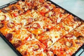 Рецепт домашней пиццы без дрожжей…получается очень вкусно!